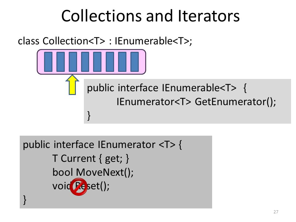 Collections and Iterators 27 class Collection : IEnumerable ; public interface IEnumerable { IEnumerator GetEnumerator(); } public interface IEnumerat