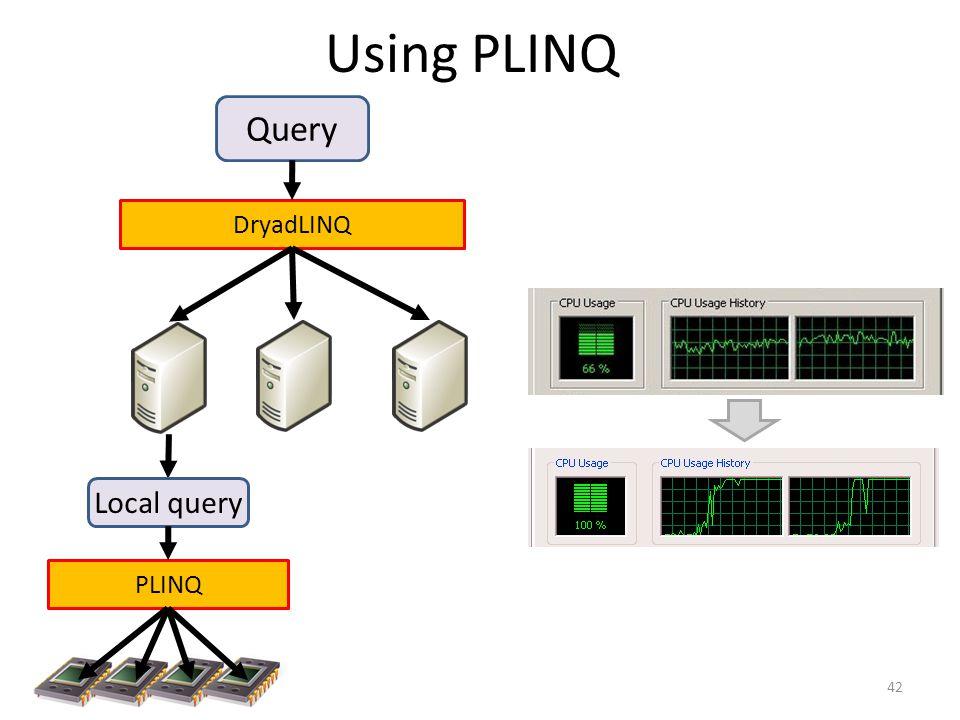 Using PLINQ 42 Query DryadLINQ PLINQ Local query