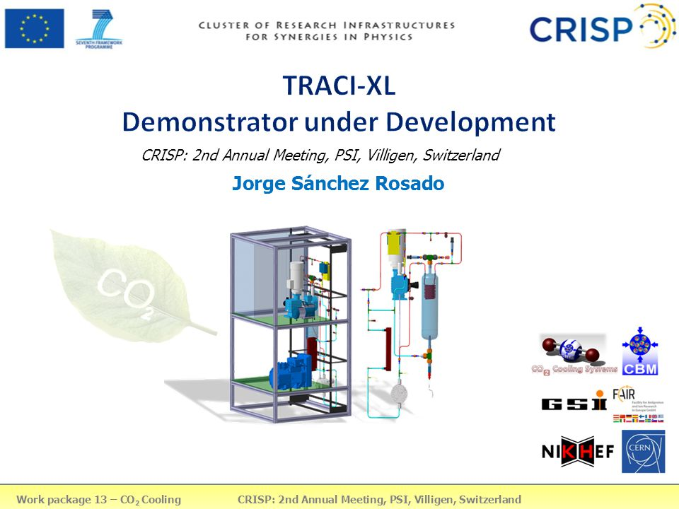 14-Mar-13Work Package 13 - CO2 Cooling - Jorge Sánchez2 TABLE OF CONTENTS 1.STS-CBM thermodynamical requirements 2.I-2PACL principle (Under patent) 3.Introduction to TRACI-XL 4.System diagram (State points + Ph diagram) 5.CO2 Line a)Remote head pump b)Pulsation Dampener c)Accumulator 6.Condensing Unit + Interface (Heat exchanger) 7.P&ID 8.Control system