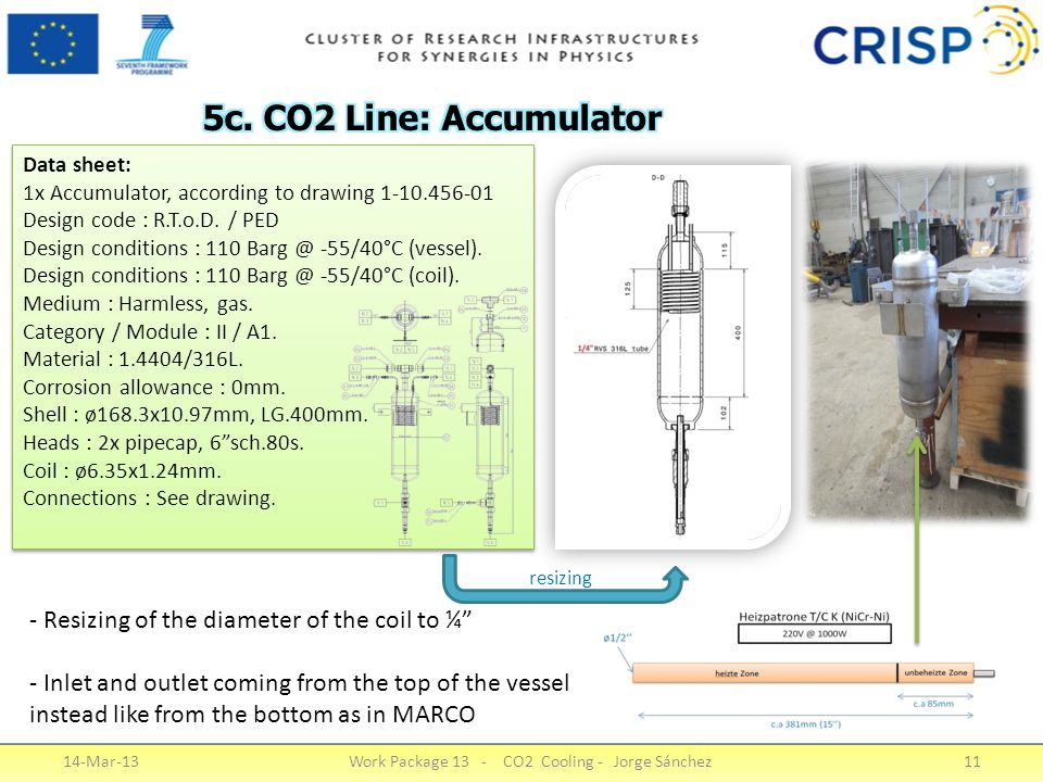 14-Mar-13Work Package 13 - CO2 Cooling - Jorge Sánchez11 - Resizing of the diameter of the coil to ¼ - Inlet and outlet coming from the top of the vessel instead like from the bottom as in MARCO Data sheet: 1x Accumulator, according to drawing 1-10.456-01 Design code : R.T.o.D.