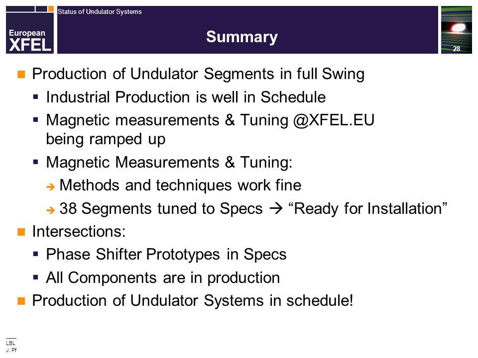 Status of Undulator Systems 28 LBL Visit Sept 3, 2013 J. Pflueger, European XFEL Summary Production of Undulator Segments in full Swing  Industrial P