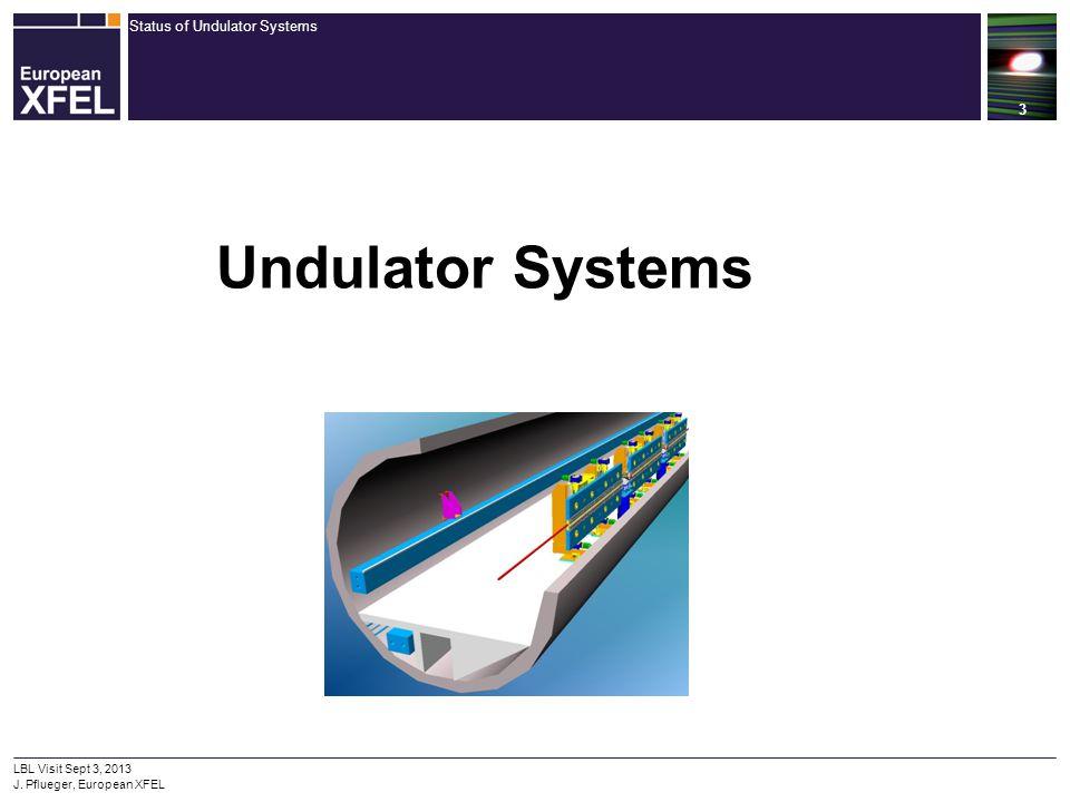 Status of Undulator Systems 3 LBL Visit Sept 3, 2013 J. Pflueger, European XFEL Undulator Systems