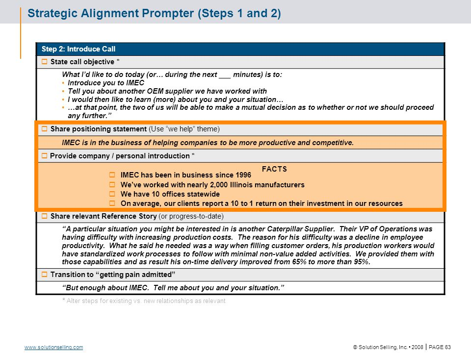 © Solution Selling, Inc. 2008  PAGE 63 www.solutionselling.com Strategic Alignment Prompter (Steps 1 and 2) Step 2: Introduce Call  State call objec