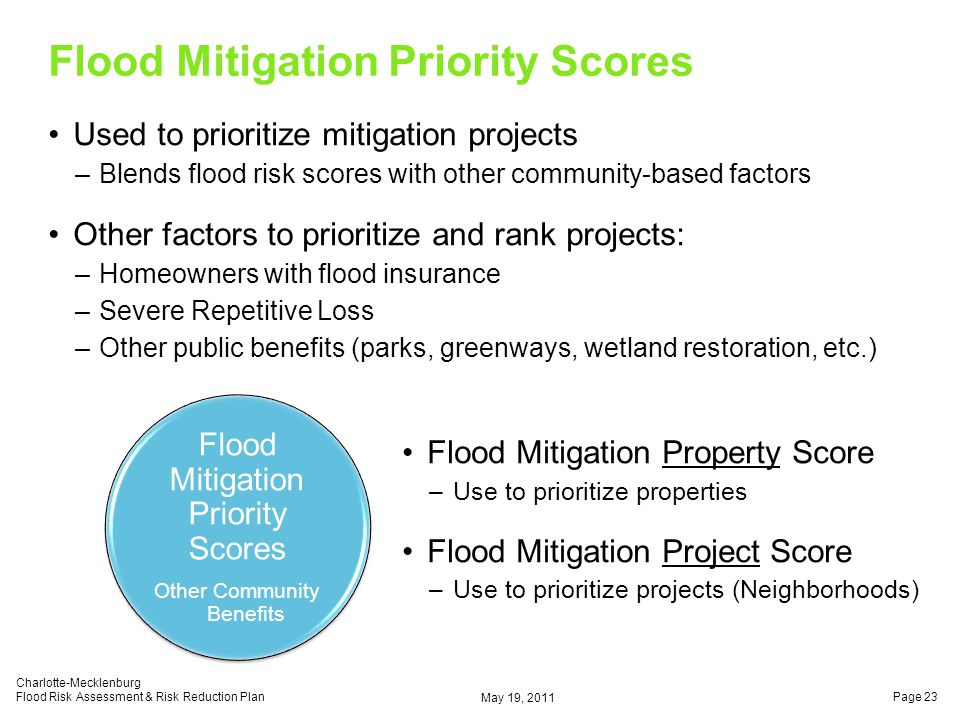 Flood Mitigation Priority Scores Used to prioritize mitigation projects –Blends flood risk scores with other community-based factors Other factors to prioritize and rank projects: –Homeowners with flood insurance –Severe Repetitive Loss –Other public benefits (parks, greenways, wetland restoration, etc.) May 19, 2011 Charlotte-Mecklenburg Flood Risk Assessment & Risk Reduction PlanPage 23 Flood Mitigation Priority Scores Other Community Benefits Flood Mitigation Property Score –Use to prioritize properties Flood Mitigation Project Score –Use to prioritize projects (Neighborhoods)
