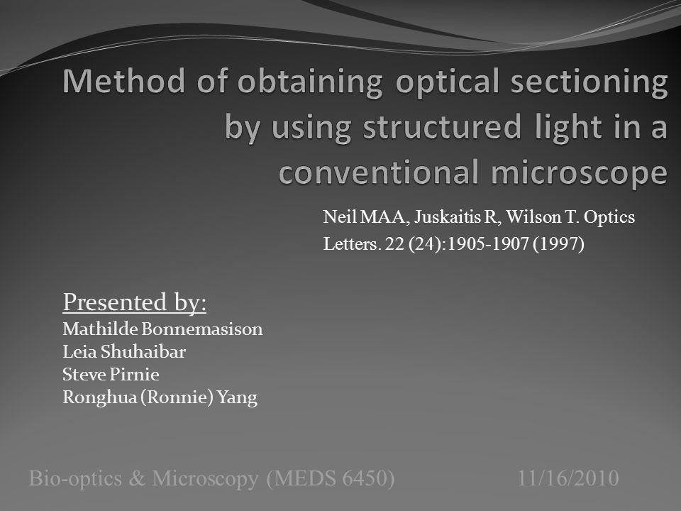 Bio-optics & Microscopy (MEDS 6450) 11/16/2010 Presented by: Mathilde Bonnemasison Leia Shuhaibar Steve Pirnie Ronghua (Ronnie) Yang Neil MAA, Juskaitis R, Wilson T.