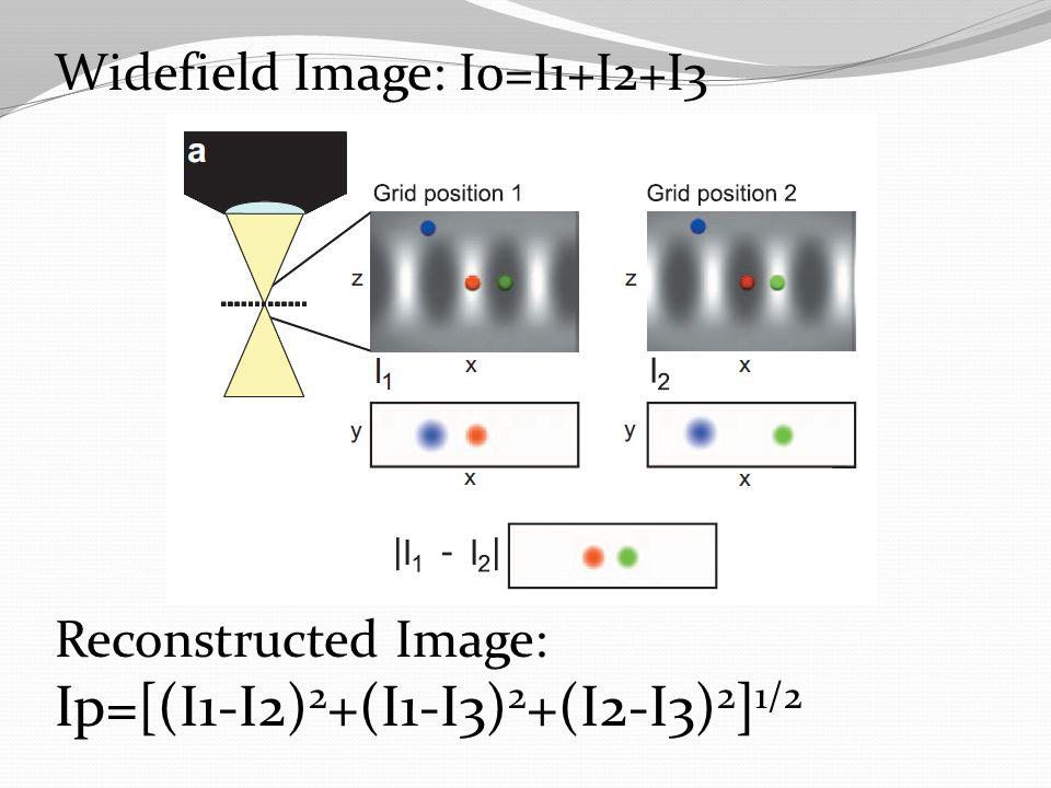 Widefield Image: I0=I1+I2+I3 Reconstructed Image: Ip=[(I1-I2) 2 +(I1-I3) 2 +(I2-I3) 2 ] 1/2