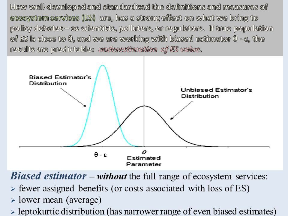 Biased estimator – without the full range of ecosystem services:  fewer assigned benefits (or costs associated with loss of ES)  lower mean (average)  leptokurtic distribution (has narrower range of even biased estimates) θ - ε