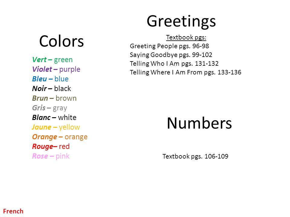 Greetings Colors Vert – green Violet – purple Bleu – blue Noir – black Brun – brown Gris – gray Blanc – white Jaune – yellow Orange – orange Rouge– re
