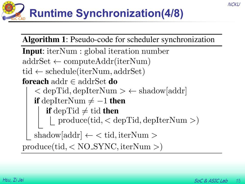 NCKU SoC & ASIC Lab 15 Hsu, Zi Jei SoC CAD Runtime Synchronization(4/8)