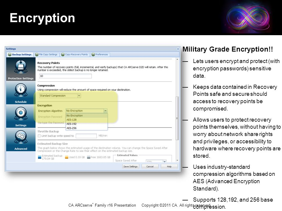 CA ARCserve ® Family r16 Presentation Copyright ©2011 CA. All rights reserved. Encryption Military Grade Encryption!! — Lets users encrypt and protect