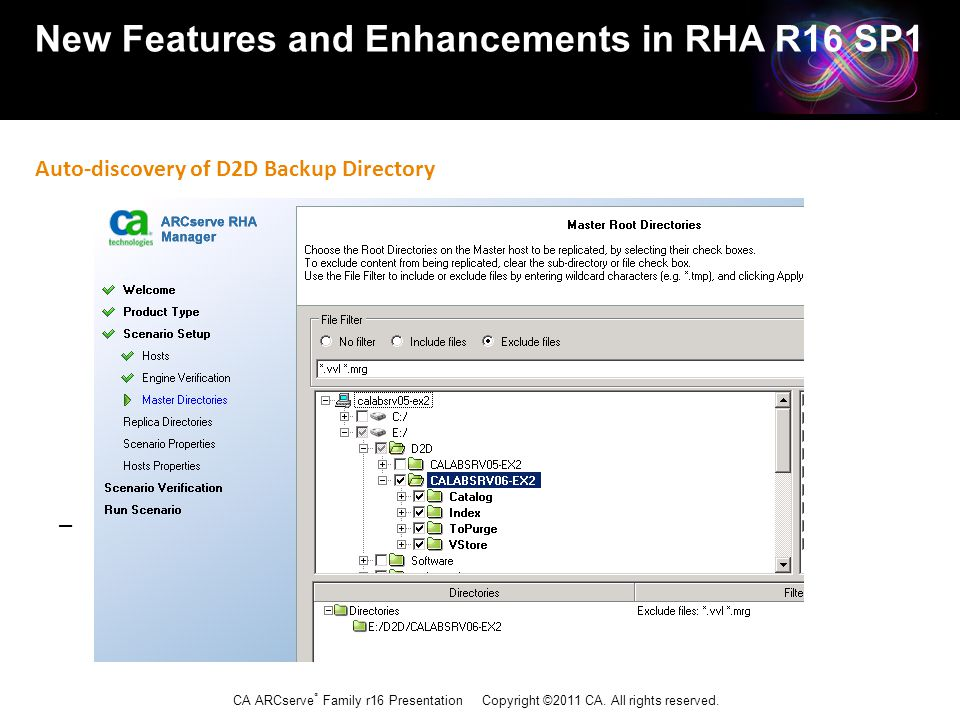 CA ARCserve ® Family r16 Presentation Copyright ©2011 CA. All rights reserved. New Features and Enhancements in RHA R16 SP1 Auto-discovery of D2D Back