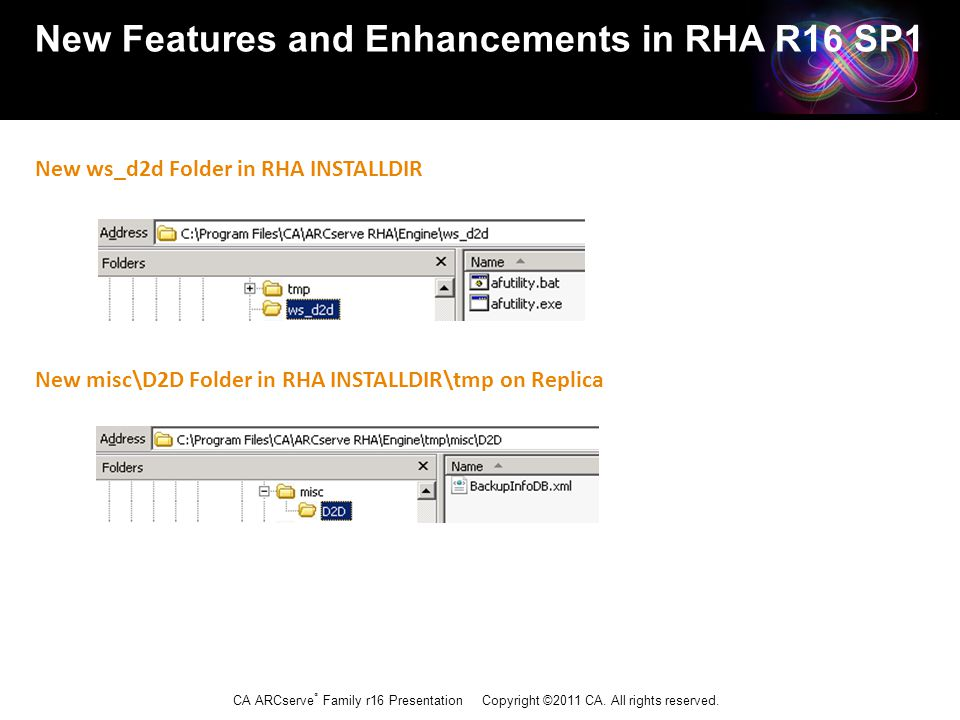CA ARCserve ® Family r16 Presentation Copyright ©2011 CA. All rights reserved. New Features and Enhancements in RHA R16 SP1 New ws_d2d Folder in RHA I