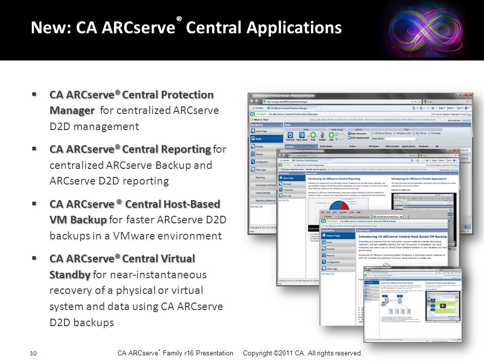 CA ARCserve ® Family r16 Presentation Copyright ©2011 CA. All rights reserved. 30  CA ARCserve® Central Protection Manager  CA ARCserve® Central Pro