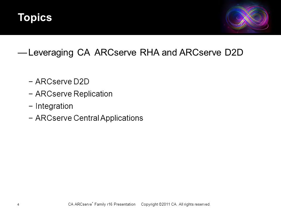 CA ARCserve ® Family r16 Presentation Copyright ©2011 CA. All rights reserved. Topics — Leveraging CA ARCserve RHA and ARCserve D2D − ARCserve D2D − A