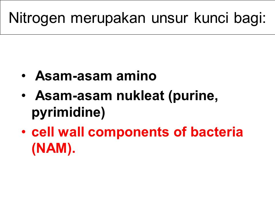 Peranan Nitrogen Tumbuhan dan bakteri menggunakan nitorgen dalam bentuk NH 4 + atau NO 3 - It serves as an electron acceptor in anaerobic environment Nitrogen is often the most limiting nutrient in soil and water.