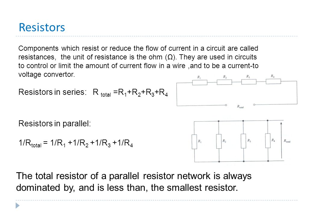 Resistors Components which resist or reduce the flow of current in a circuit are called resistances, the unit of resistance is the ohm (Ω). They are u