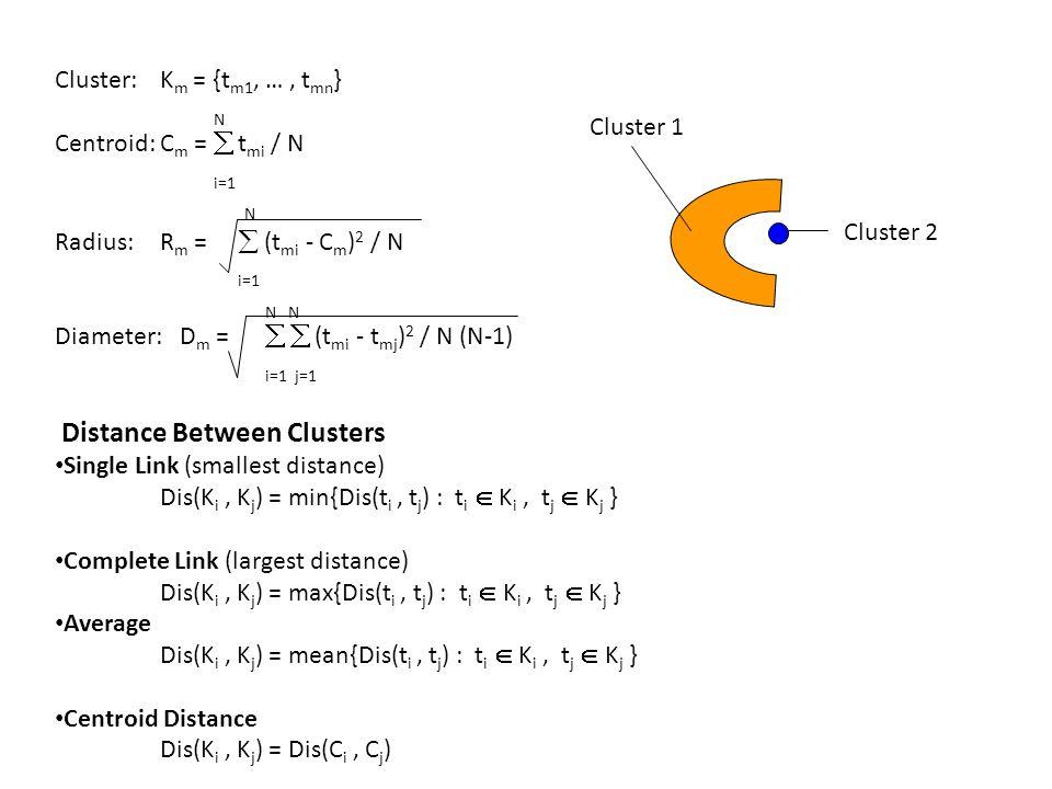 Cluster: K m = {t m1, …, t mn } N Centroid:C m =  t mi / N i=1 N Radius:R m =  (t mi - C m ) 2 / N i=1 N Diameter: D m =   (t mi - t mj ) 2 / N (N