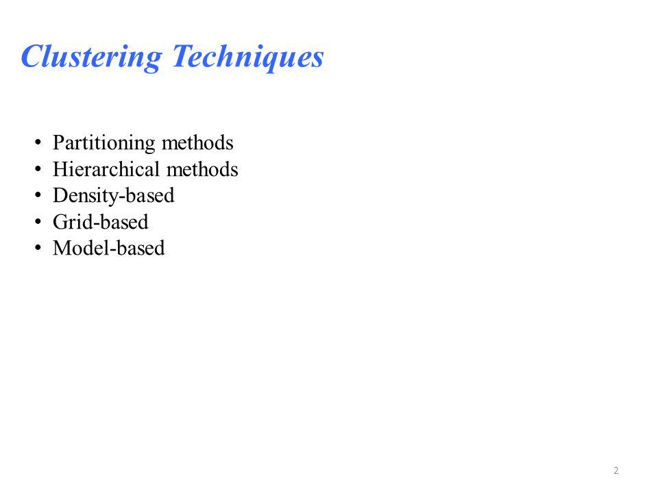 2 Partitioning methods Hierarchical methods Density-based Grid-based Model-based Clustering Techniques