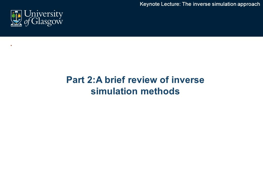 . Part 2:A brief review of inverse simulation methods