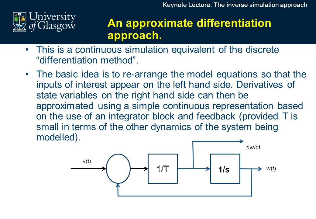 """This is a continuous simulation equivalent of the discrete """"differentiation method"""". The basic idea is to re-arrange the model equations so that the i"""