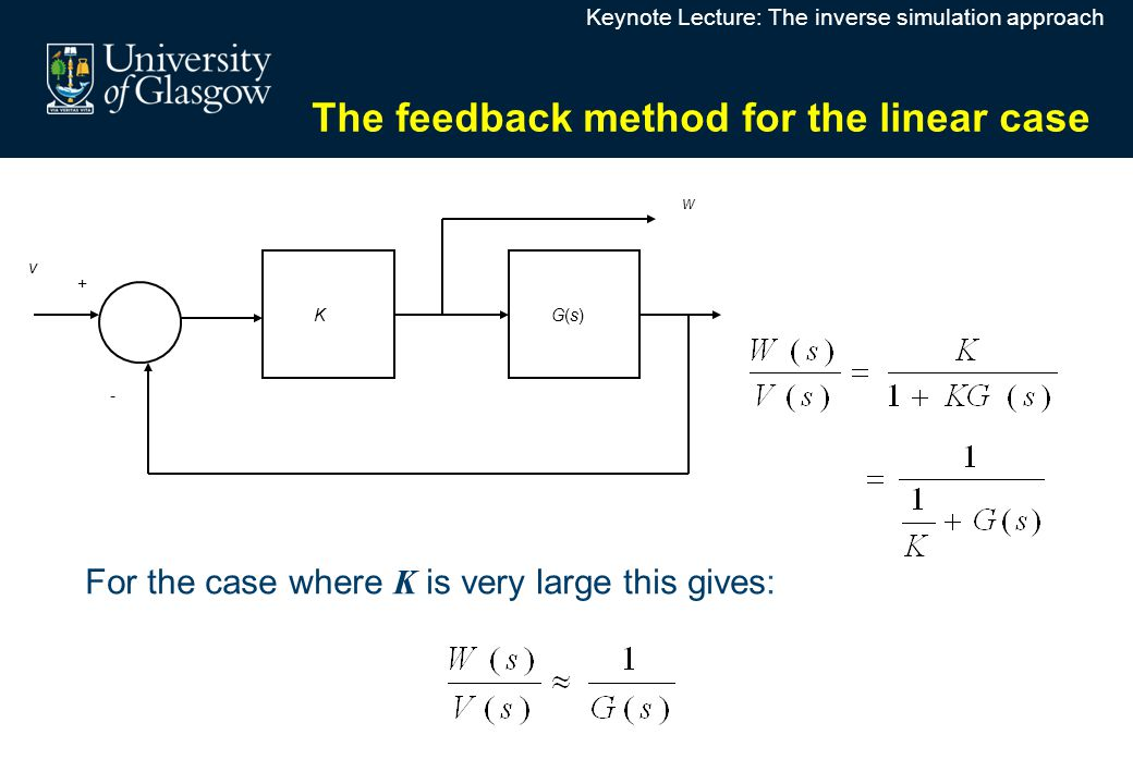 G(s)G(s) K v w + - For the case where K is very large this gives: The feedback method for the linear case Keynote Lecture: The inverse simulation approach