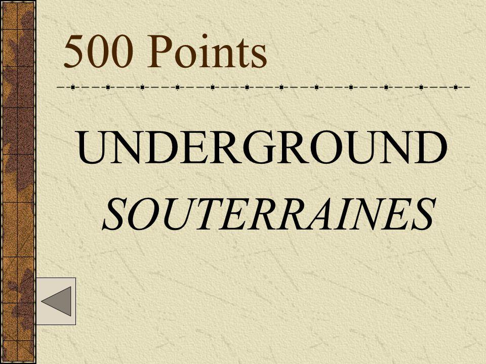 500 Points UNDERGROUND SOUTERRAINES