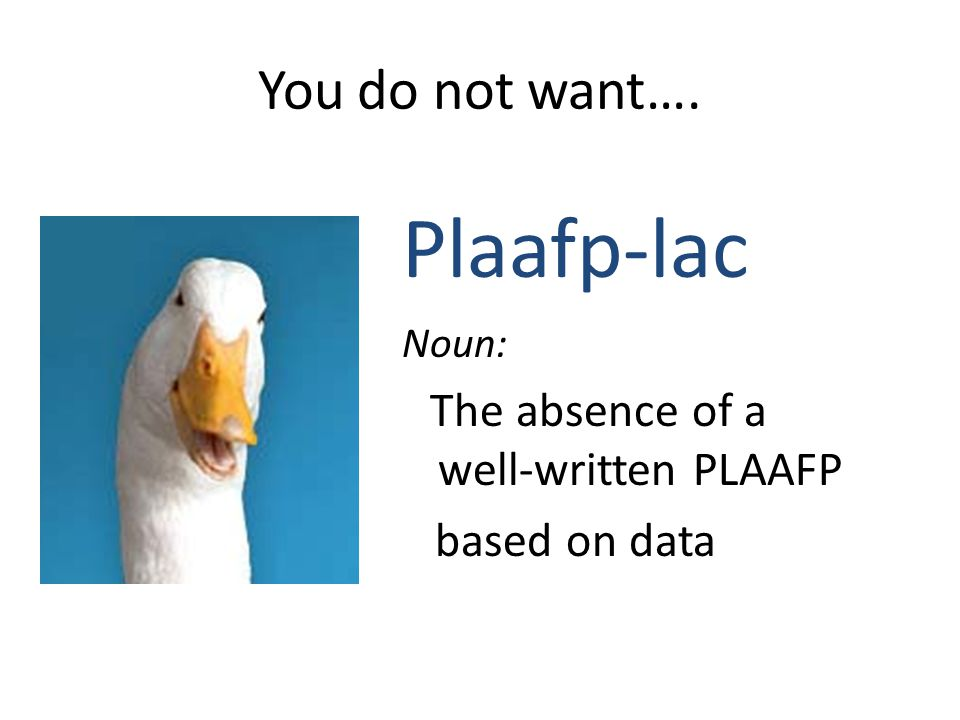 PLAAFP should Provide a focus or a spotlight on the child's needs Serve as a preview as to which skills will need some instructional support and focus Provide specific baseline data supporting their area of need