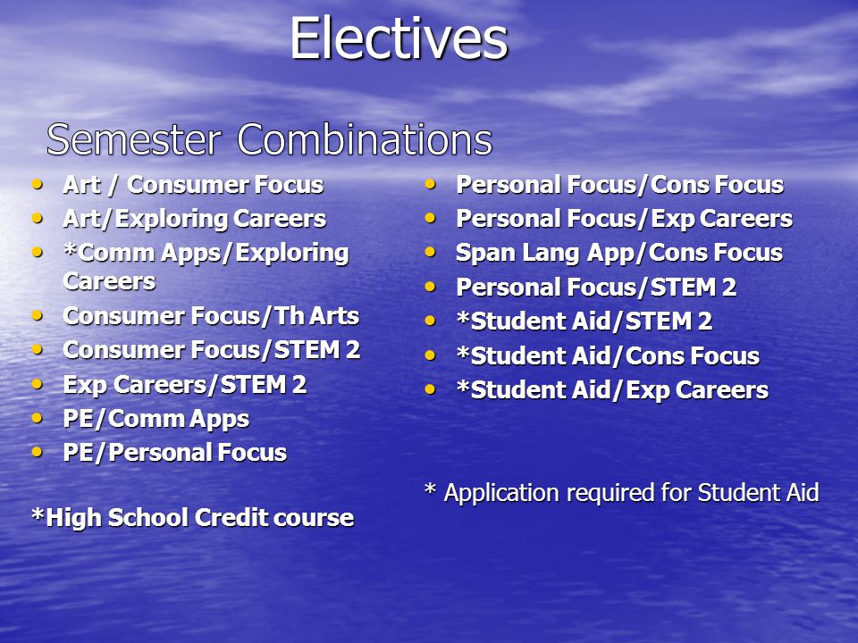Electives Electives Art / Consumer Focus Art / Consumer Focus Art/Exploring Careers Art/Exploring Careers *Comm Apps/Exploring Careers *Comm Apps/Exploring Careers Consumer Focus/Th Arts Consumer Focus/Th Arts Consumer Focus/STEM 2 Consumer Focus/STEM 2 Exp Careers/STEM 2 Exp Careers/STEM 2 PE/Comm Apps PE/Comm Apps PE/Personal Focus PE/Personal Focus *High School Credit course Personal Focus/Cons Focus Personal Focus/Cons Focus Personal Focus/Exp Careers Personal Focus/Exp Careers Span Lang App/Cons Focus Span Lang App/Cons Focus Personal Focus/STEM 2 Personal Focus/STEM 2 *Student Aid/STEM 2 *Student Aid/STEM 2 *Student Aid/Cons Focus *Student Aid/Cons Focus *Student Aid/Exp Careers *Student Aid/Exp Careers * Application required for Student Aid