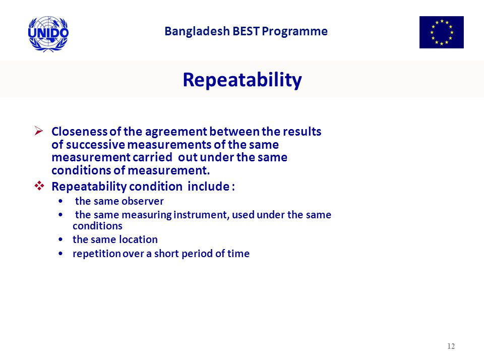 Repeatability  Closeness of the agreement between the results of successive measurements of the same measurement carried out under the same conditions of measurement.