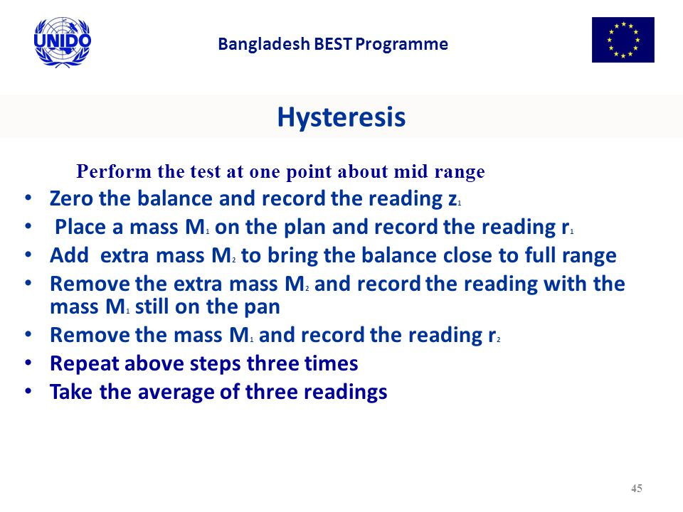 Hysteresis Perform the test at one point about mid range Zero the balance and record the reading z 1 Place a mass M 1 on the plan and record the reading r 1 Add extra mass M 2 to bring the balance close to full range Remove the extra mass M 2 and record the reading with the mass M 1 still on the pan Remove the mass M 1 and record the reading r 2 Repeat above steps three times Take the average of three readings 45 Bangladesh BEST Programme