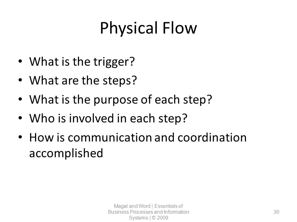 Physical Flow Magal and Word | Essentials of Business Processes and Information Systems | © 2009 30 What is the trigger? What are the steps? What is t