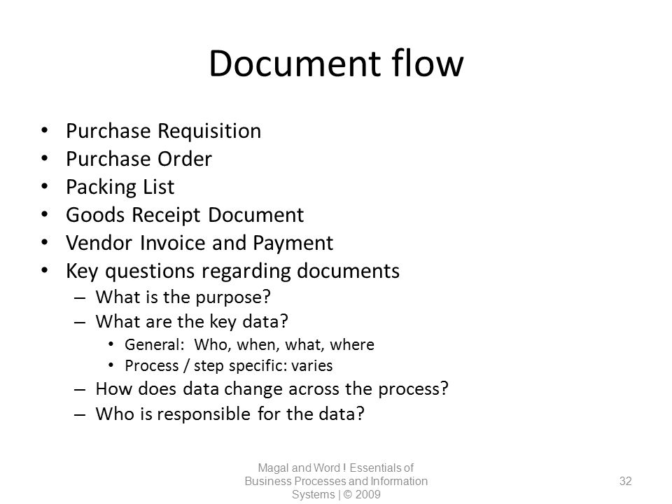 Document flow Magal and Word ! Essentials of Business Processes and Information Systems | © 2009 32 Purchase Requisition Purchase Order Packing List G