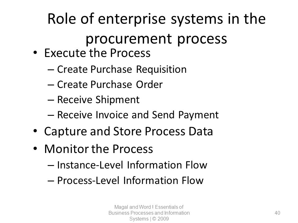 Role of enterprise systems in the procurement process Magal and Word ! Essentials of Business Processes and Information Systems | © 2009 40 Execute th