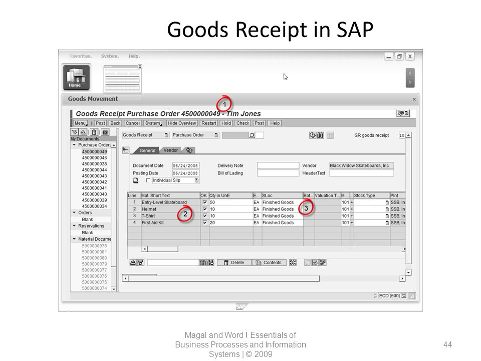 Goods Receipt in SAP Magal and Word ! Essentials of Business Processes and Information Systems | © 2009 44