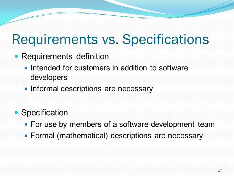 Requirements vs.