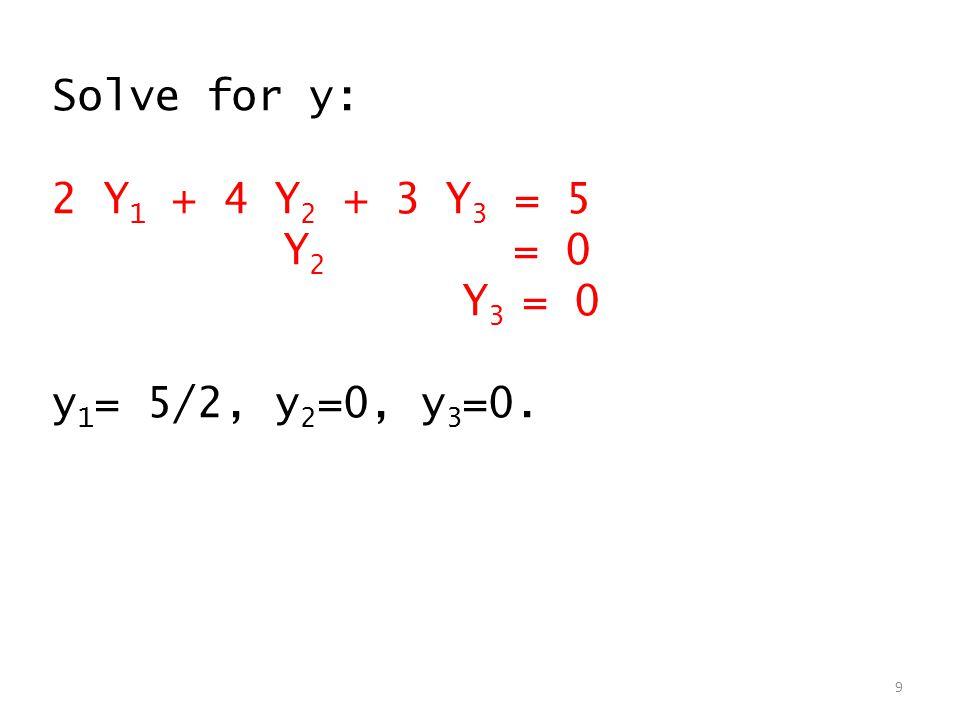 Solve for y: 2 Y 1 + 4 Y 2 + 3 Y 3 = 5 Y 2 = 0 Y 3 = 0 y 1 = 5/2, y 2 =0, y 3 =0. 9