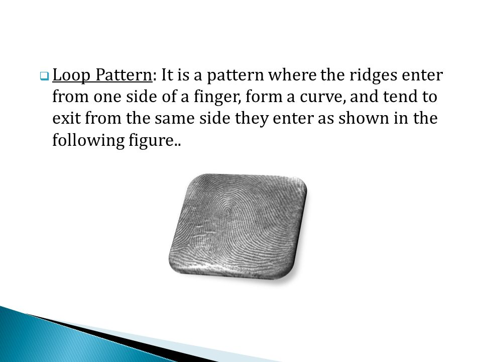  Loop Pattern: It is a pattern where the ridges enter from one side of a finger, form a curve, and tend to exit from the same side they enter as shown in the following figure..