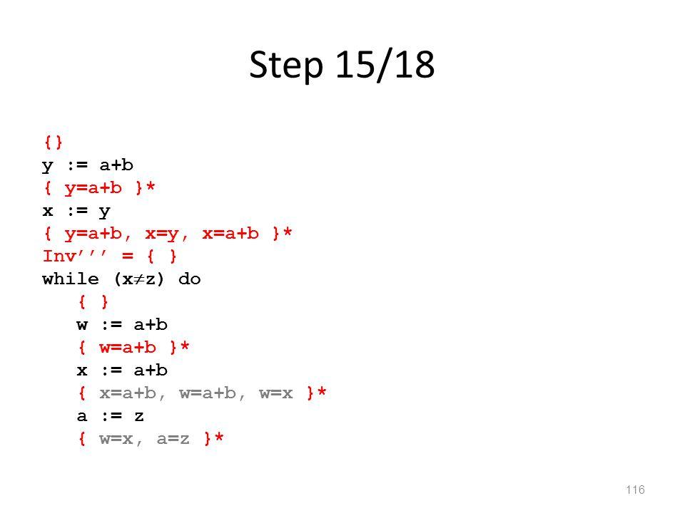 Step 15/18 116 {} y := a+b { y=a+b }* x := y { y=a+b, x=y, x=a+b }* Inv''' = { } while (x  z) do { } w := a+b { w=a+b }* x := a+b { x=a+b, w=a+b, w=x }* a := z { w=x, a=z }*