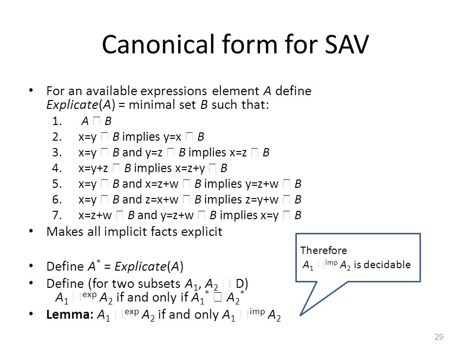 Canonical form for SAV For an available expressions element A define Explicate(A) = minimal set B such that: 1. A  B 2.x=y  B implies y=x  B 3.x=y