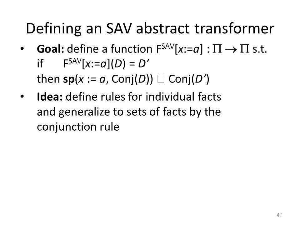 Defining an SAV abstract transformer Goal: define a function F SAV [x:=a] :    s.t.