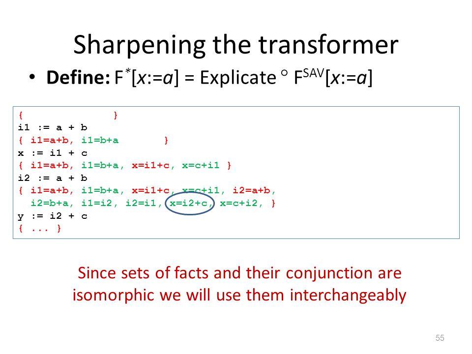Sharpening the transformer Define: F * [x:=a] = Explicate  F SAV [x:=a] 55 { } i1 := a + b { i1=a+b, i1=b+a } x := i1 + c { i1=a+b, i1=b+a, x=i1+c, x=c+i1 } i2 := a + b { i1=a+b, i1=b+a, x=i1+c, x=c+i1, i2=a+b, i2=b+a, i1=i2, i2=i1, x=i2+c, x=c+i2, } y := i2 + c {...