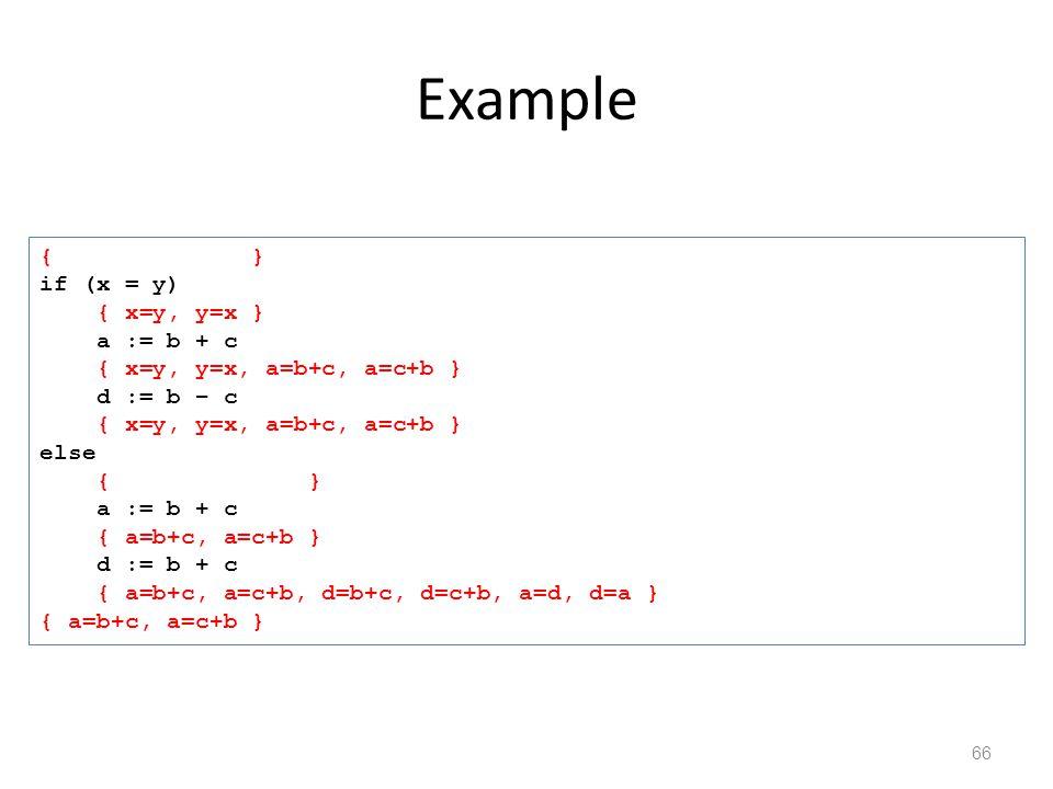Example 66 { } if (x = y) { x=y, y=x } a := b + c { x=y, y=x, a=b+c, a=c+b } d := b – c { x=y, y=x, a=b+c, a=c+b } else { } a := b + c { a=b+c, a=c+b } d := b + c { a=b+c, a=c+b, d=b+c, d=c+b, a=d, d=a } { a=b+c, a=c+b }