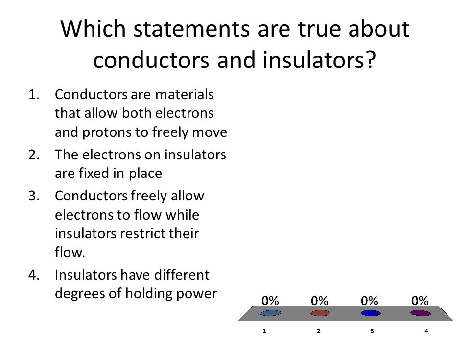 Which statements are true about conductors and insulators.