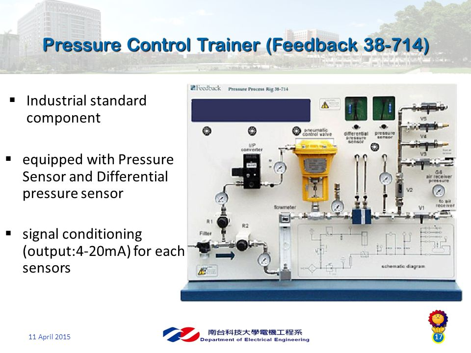 11 April 201517  Industrial standard component  signal conditioning (output:4-20mA) for each sensors  equipped with Pressure Sensor and Differential pressure sensor Pressure Control Trainer (Feedback 38-714)