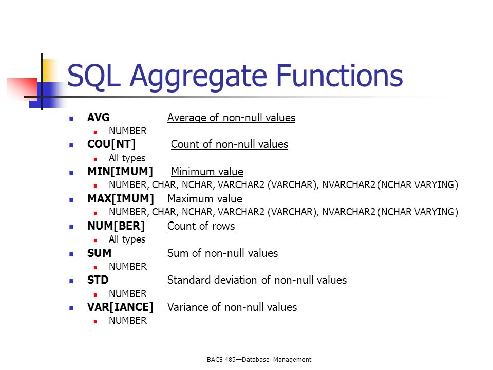BACS 485—Database Management SQL Aggregate Functions AVG Average of non-null values NUMBER COU[NT] Count of non-null values All types MIN[IMUM] Minimum value NUMBER, CHAR, NCHAR, VARCHAR2 (VARCHAR), NVARCHAR2 (NCHAR VARYING) MAX[IMUM]Maximum value NUMBER, CHAR, NCHAR, VARCHAR2 (VARCHAR), NVARCHAR2 (NCHAR VARYING) NUM[BER]Count of rows All types SUMSum of non-null values NUMBER STDStandard deviation of non-null values NUMBER VAR[IANCE]Variance of non-null values NUMBER