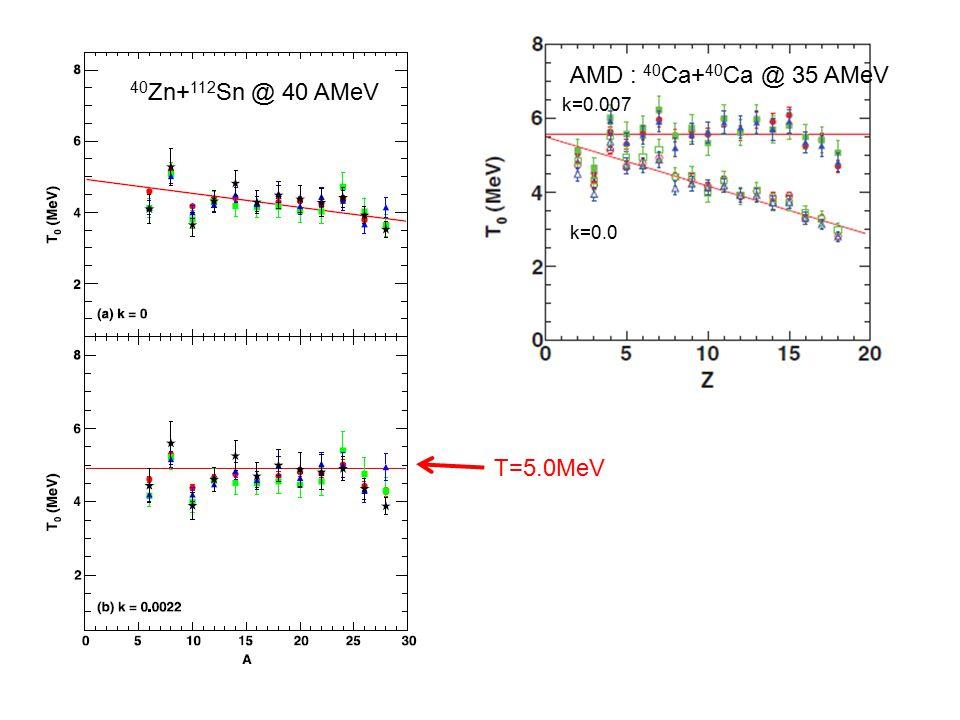 AMD : 40 Ca+ 40 Ca @ 35 AMeV 40 Zn+ 112 Sn @ 40 AMeV T=5.0MeV k=0.0 k=0.007