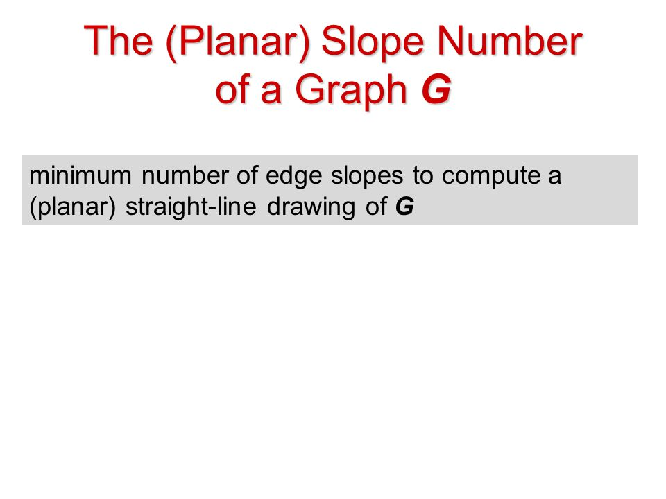 The (Planar) Slope Number of a Graph G minimum number of edge slopes to compute a (planar) straight-line drawing of G u v G