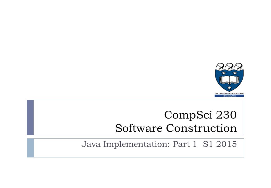 Java Implementation: Part 1 S1 2015 CompSci 230 Software Construction