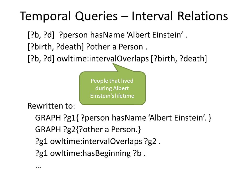 Temporal Queries – Interval Relations [?b, ?d] ?person hasName 'Albert Einstein'. [?birth, ?death] ?other a Person. [?b, ?d] owltime:intervalOverlaps