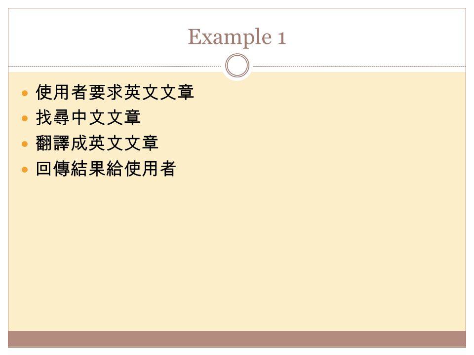 Example 1 使用者要求英文文章 找尋中文文章 翻譯成英文文章 回傳結果給使用者